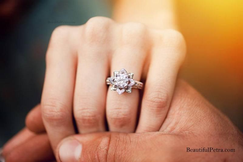 French Pavé Diamond Engagement Ring in 14k Rose Gold 14