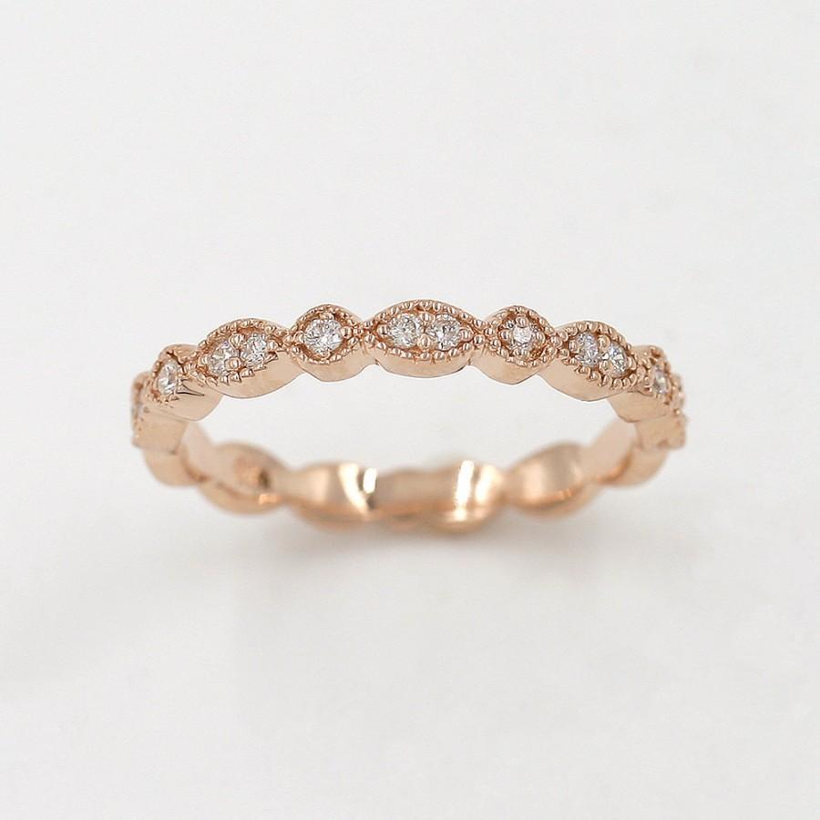 Hochzeit - Diamond Wedding Band.Rose Gold Wedding Band.Solid 14k Gold Wedding Band.100%Natural Diamond Engagement ring.Half Eternity.Art Deco Band