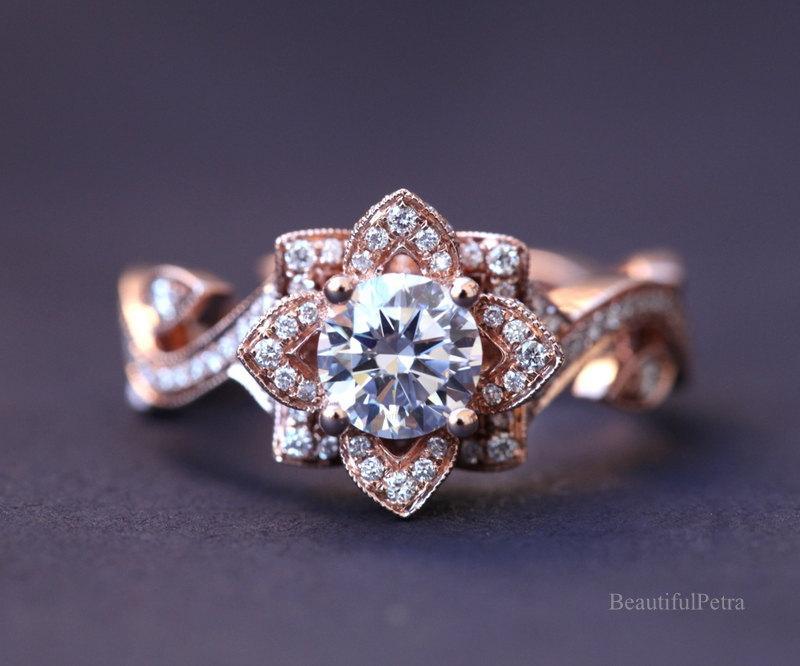 Mariage - BLOOMING Work Of Art - Flower Rose  Lotus Diamond Engagement or Right Hand Ring - 14K rose gold - fl07 - Beautiful Petra Patented design