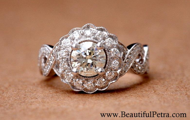 Hochzeit - Vintage style flower Halo  - 14K Diamond Engagement Ring - 1.00 carats total - with miligrain - Bph029