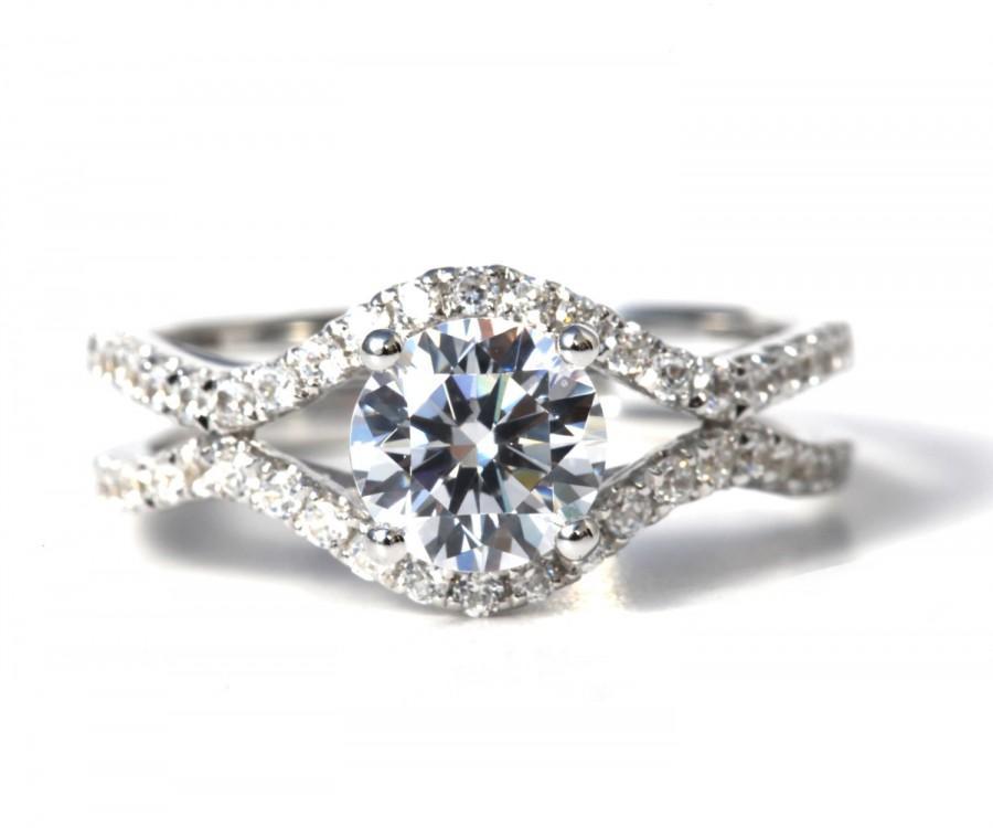 Hochzeit - 1.45 carat Round - Diamond Engagement Ring 14K white gold - Split Open Double Shank - Weddings- Luxury- Brides - Bp028