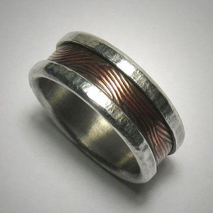 Mariage - Men's wide or slim wedding band - Rustic silver copper custom handmade artisan wedding band