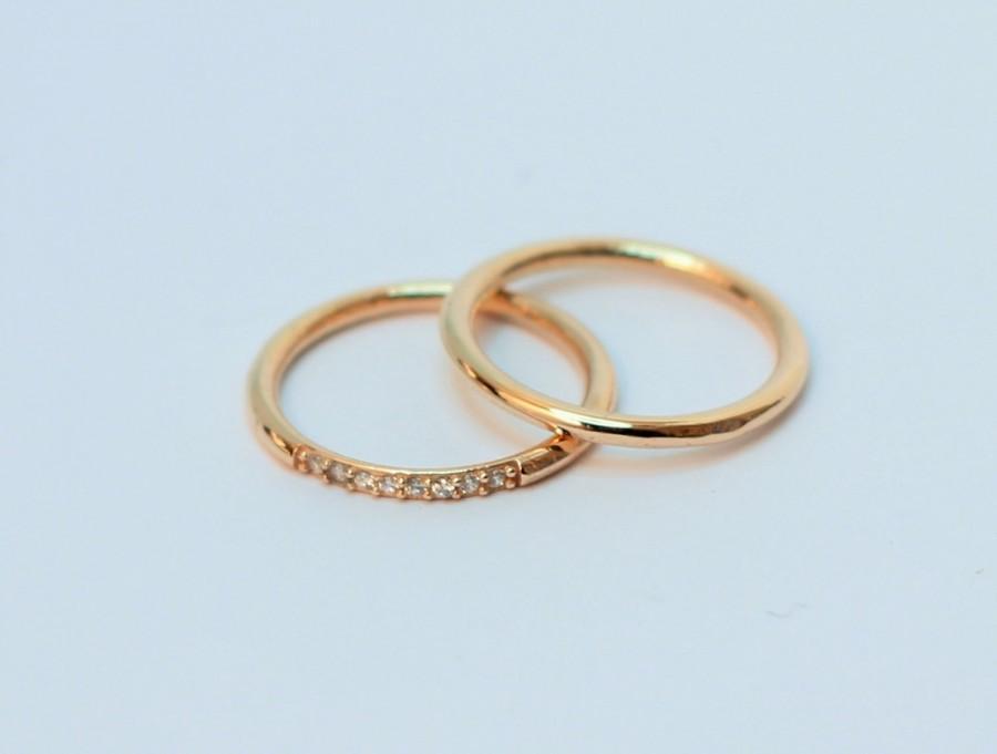 Hochzeit - Minimalist Solid Gold Rings