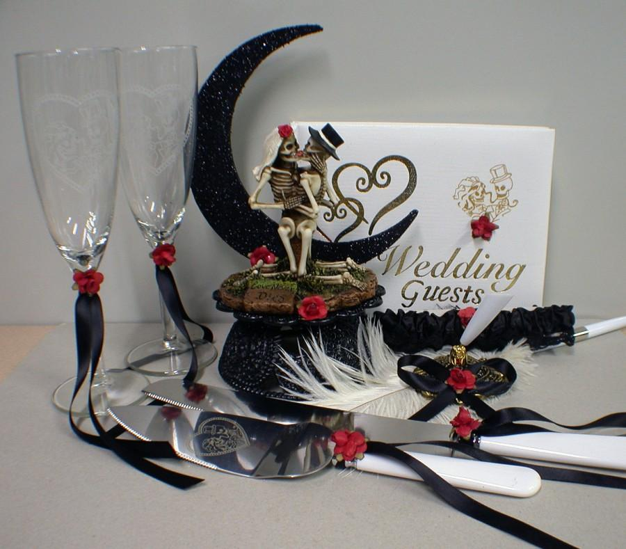 Wedding - Day of the DEAD Halloween Wedding Cake Topper Funny LOT glasses, knife, guest, book, garter