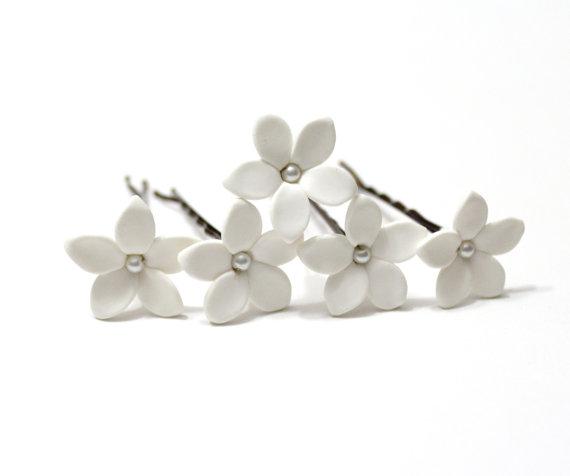 Hochzeit - White Jasmine Flower Accessories Hair pin - Jasmine Wedding Hair Accessories, Wedding Hair Flower Hair Small Hair Flowers - set