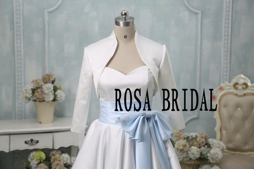 زفاف - Bridal bolero jacket shrug, Wedding jacket 3/4 sleeves, Bridal satin Jacket Custom Color Size