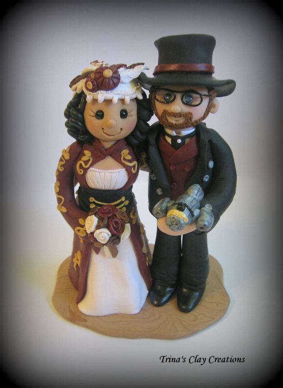 Boda - Wedding Cake Topper, Custom Cake Topper, Polymer Clay Wedding/Anniversary Keepsake, Steampunk Wedding