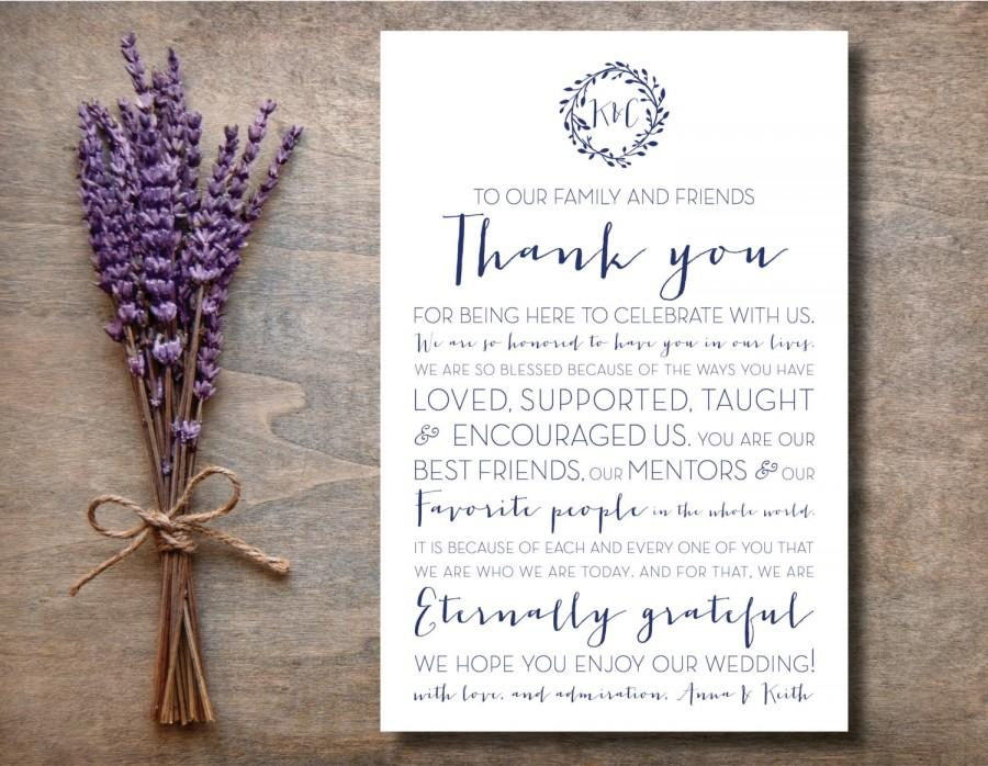 Wedding - 5x7 To Our Family and Friends Thank You Wedding Sign, Wreath Thank You Sign, Printable Thank You Sign, Thank You Place Card, Reception