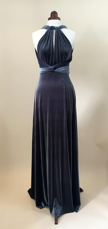 Mariage - Prom dress, ball gown, bridesmaid dress, sliver velvet dress, infinity dress, long dress, evening dress, convertible dress, party dress