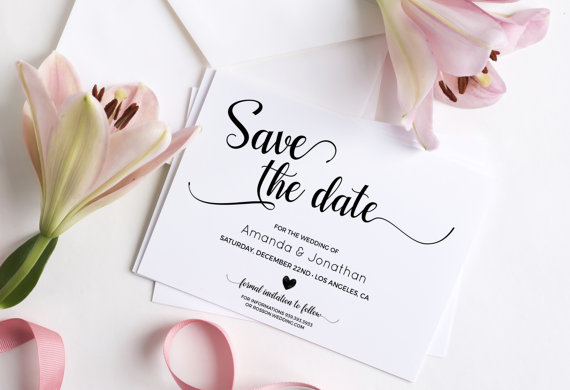 Wedding - Wedding Save the Date Template - Save the Date Printable - Wedding Printable - Calligraphy save the date - Downloadable wedding