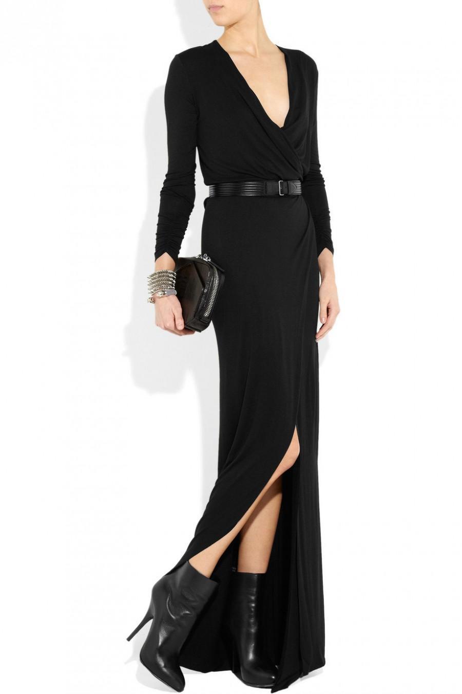 زفاف - Wedding guest wrap dress. Black tailor made floor length wrap dress Elegant evening gown Custom made pluss sizes dress