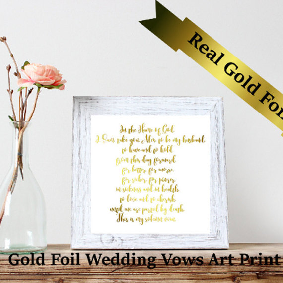 Custom Real Foil Art Print Wedding Vows Art Print Gold Foil Art