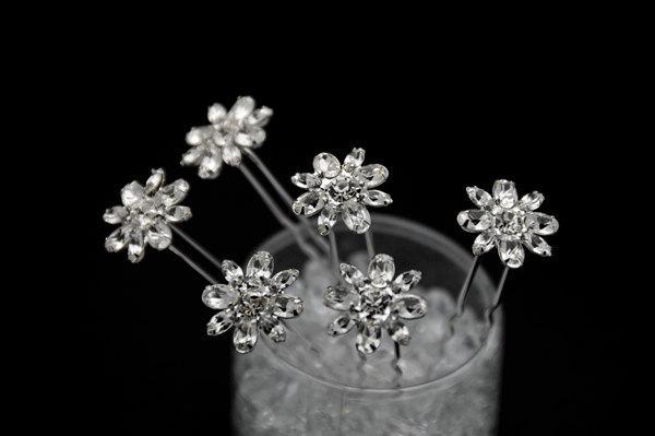 Mariage - Set of 6 clear Crystal  bridal Hair Pins