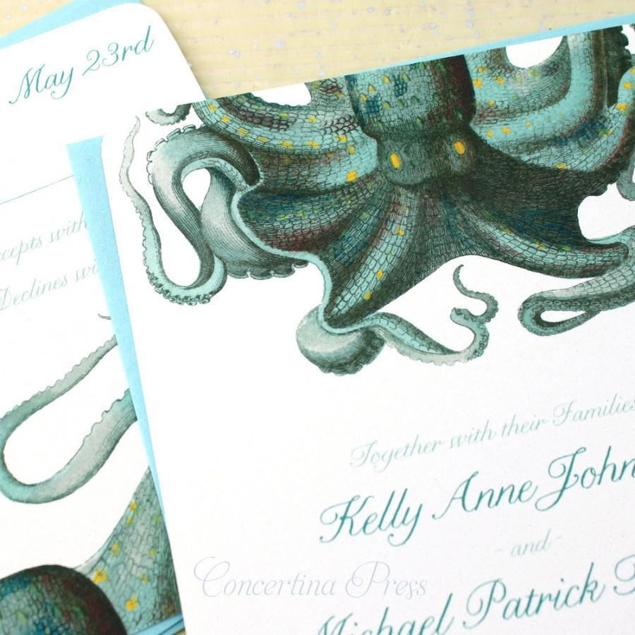 Mariage - Octopus Nautical Wedding Invitations, Ocean Wedding Invitations