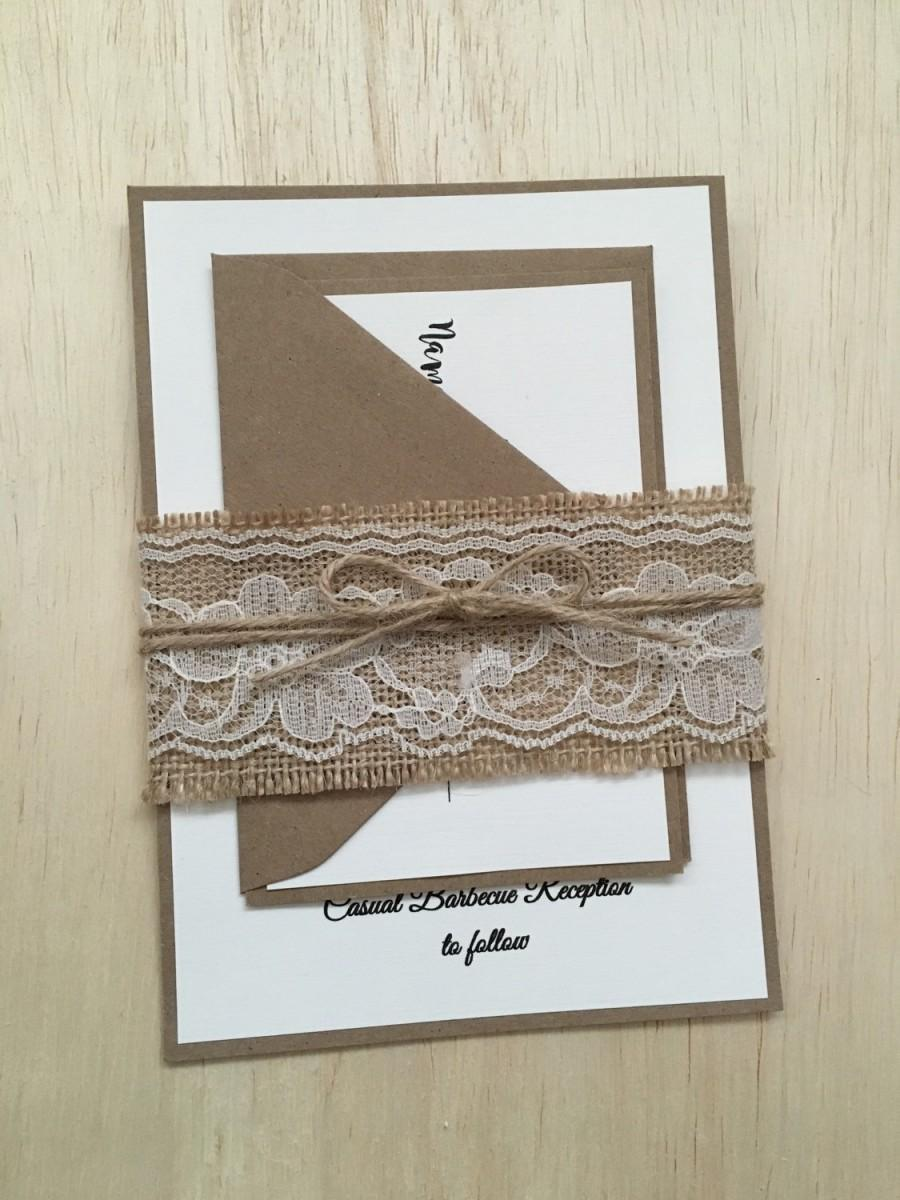Mariage - Rustic wedding invitation, burlap wedding invitation, burlap lace wedding invitation, country invitation, twine invitation, kraft invitation