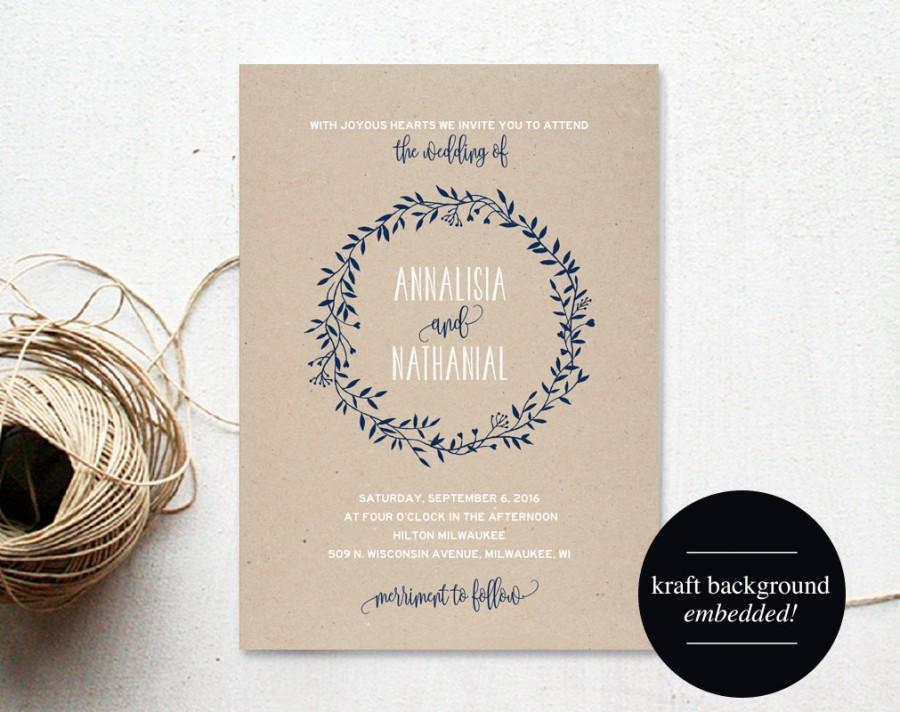 Mariage - Wreath Wedding Invitation Template, Navy Blue Invitation, Floral, Rustic, Kraft Invitation, Cheap, Printable, PDF Instant Download