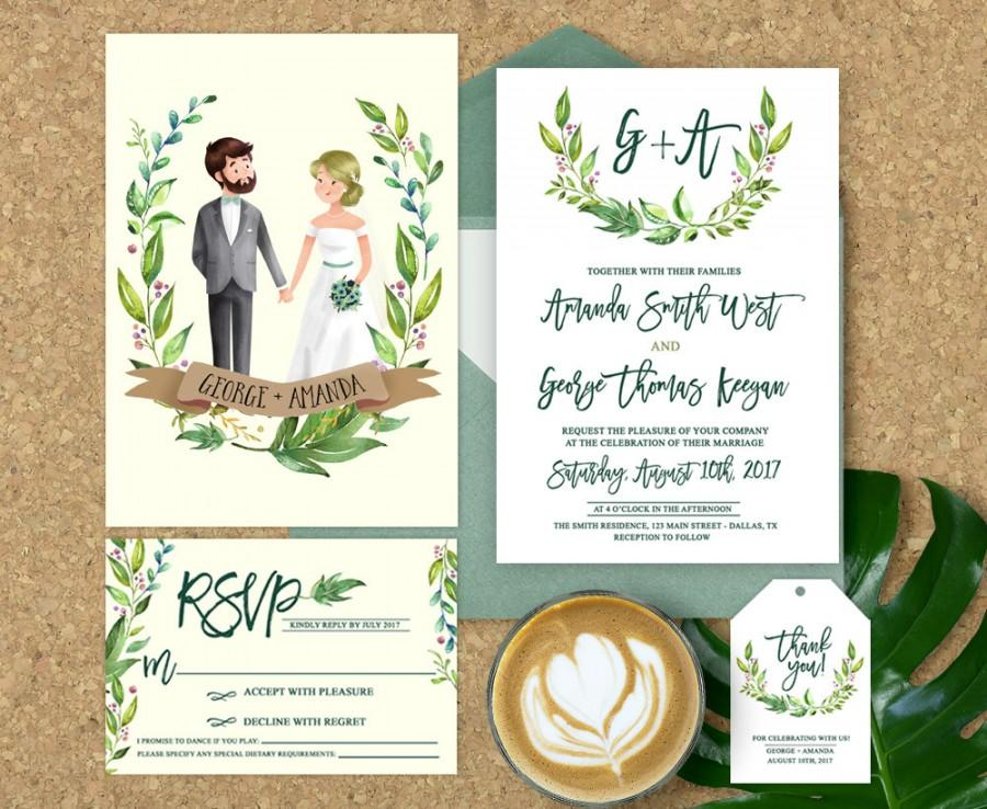 wedding invitation illustrated illustrated couple wedding