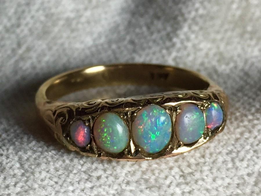 Hochzeit - Opal Ring Australian Opal Engagement Ring Opal Wedding Band Victorian Blue Opal Ring Bezel October Birthstone Antique Opal Engagement Ring