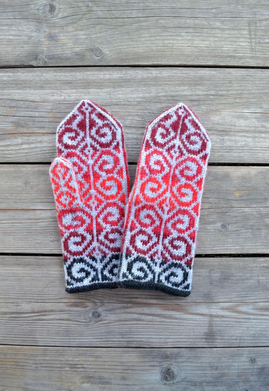 Wedding - Knit Wool Mittens - Red Tones Wool Mittens - Gray and Red Gloves - Fall Accessories nO 2.