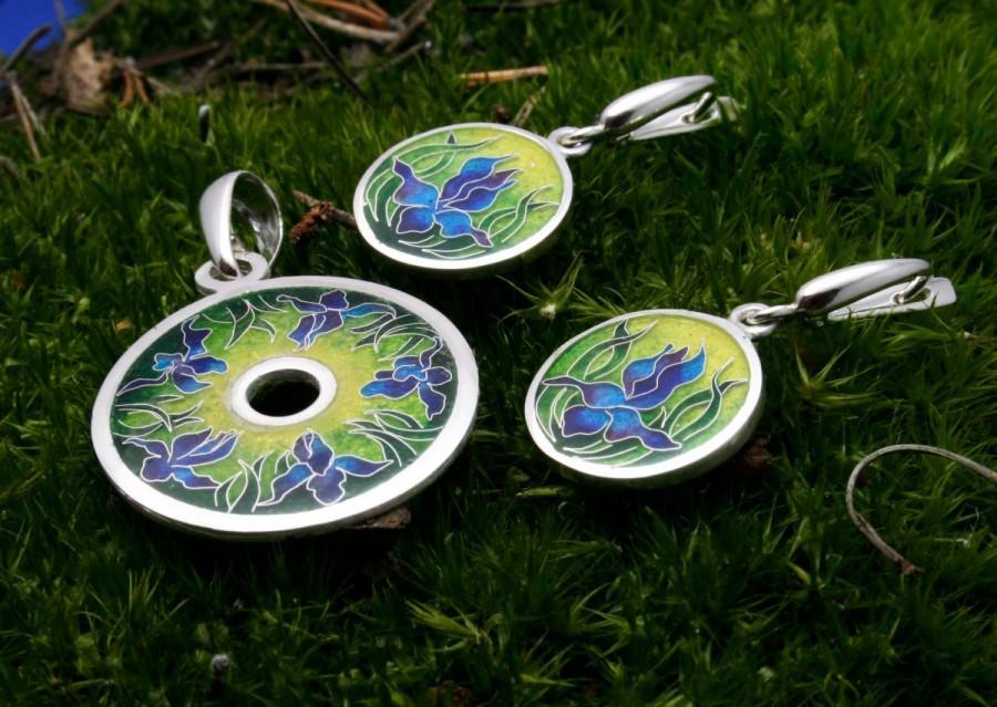 Cloisonne Hot Enamel Silver Set Irish Flower Hot Enamel Earrings Hot
