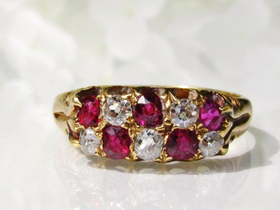 Antique Ruby Diamond Wedding Band 030ctw Old Mine Cut Diamond