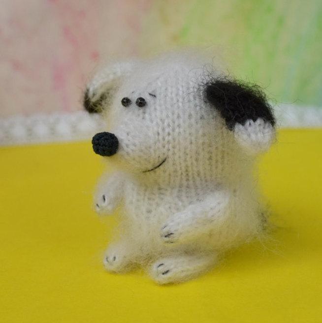 Knitted blue dog Stuffed dog hand-knit toy dog amigurumi dog hand-knit puppy stuffed animal dogs plush puppy dog wool doll dog toy