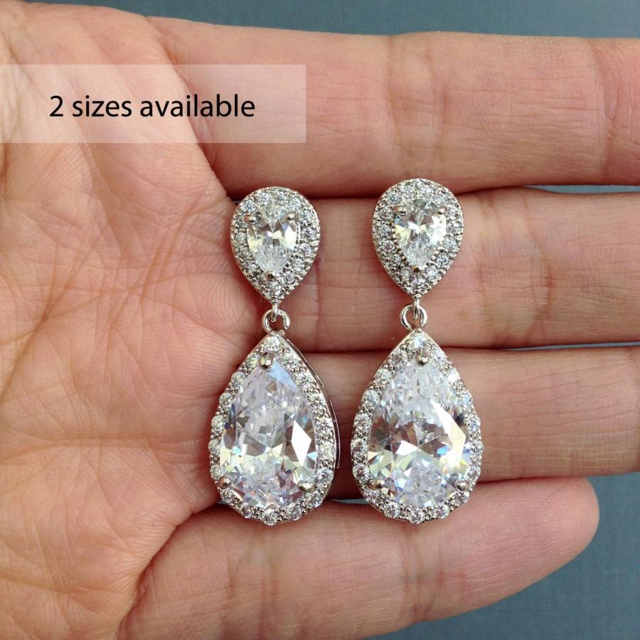 Mariage - Crystal Teardrop Earrings, Bridal Earrings, Crystal Bridal Jewelry, Crystal Dangle Earrings, Crystal  Bridal Earrings, Wedding Jewelry