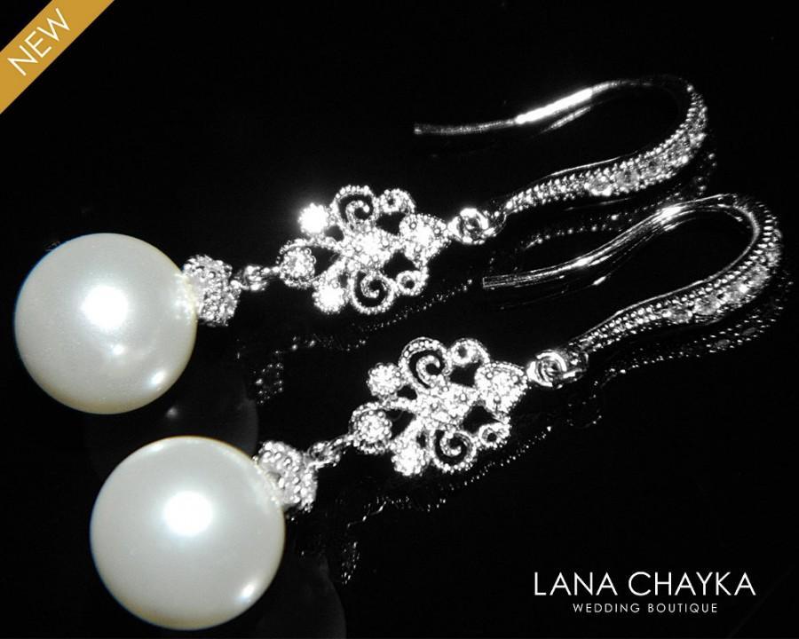 Wedding - White Pearl Chandelier Bridal Earrings Swarovski 10mm Pearl Silver Dangle Earrings White Pearl Wedding Jewelry Bridal Pearl Drop Earrings