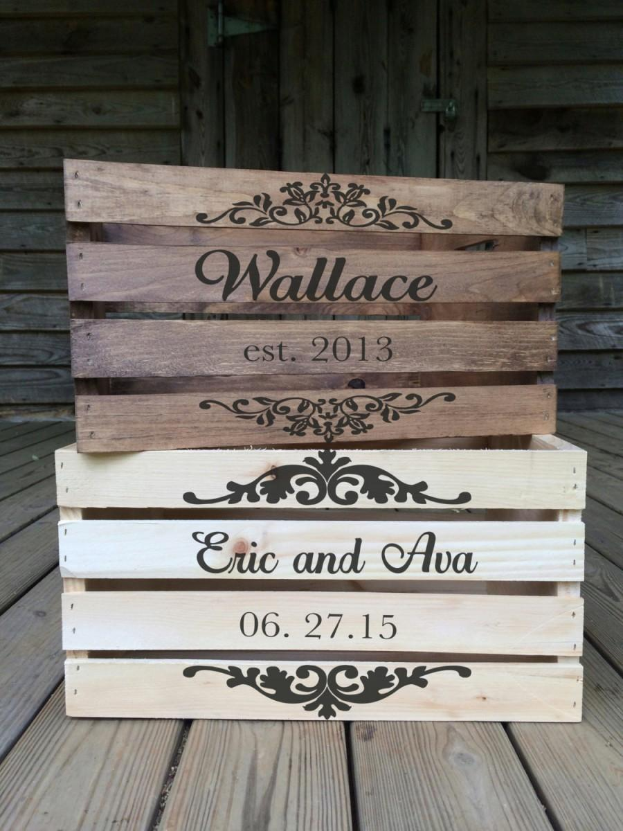 Mariage - Rustic Wedding Crate, Personalized Wedding Crates, Rustic Wood Crate, Custom Wood Crate