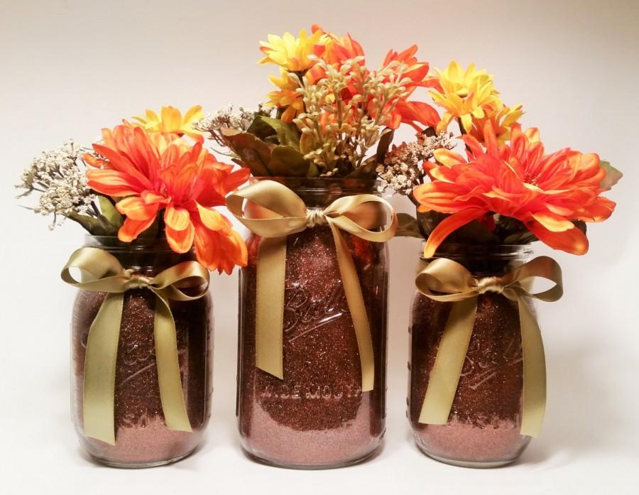 Mariage - Fall Mason Jar Centerpieces, Thanksgiving Decorations, Rustic Fall Decorations, Fall Wedding Centerpieces, Halloween Party, Set of 3