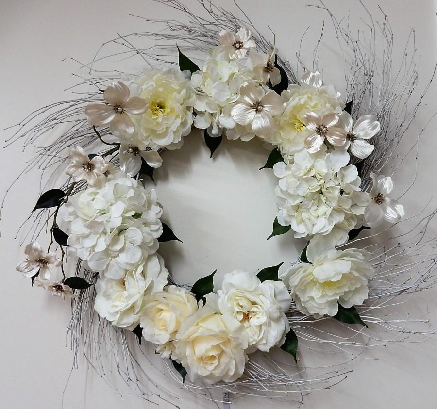 Mariage - WHITE and CREAM Floral Wreath-Wall Wreath-Home Reception Decor-Romantic Wreath-Elegant Wreath-Gift for Bride