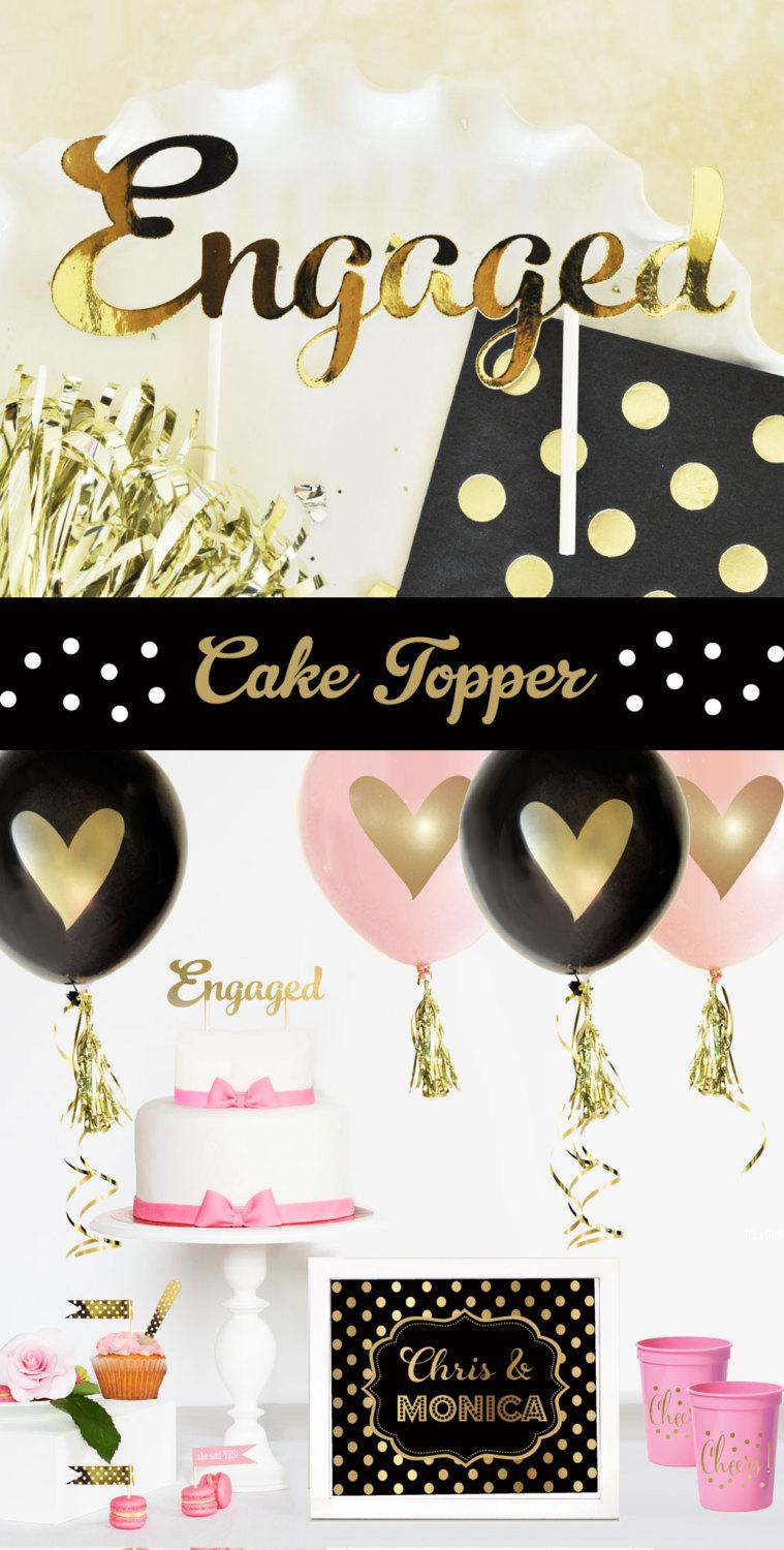 Свадьба - Engagement Cake Topper - Engaged Wedding Cake Topper - Gold Cake Topper - Engagement Party Decorations (EB3116) ENGAGED cake topper
