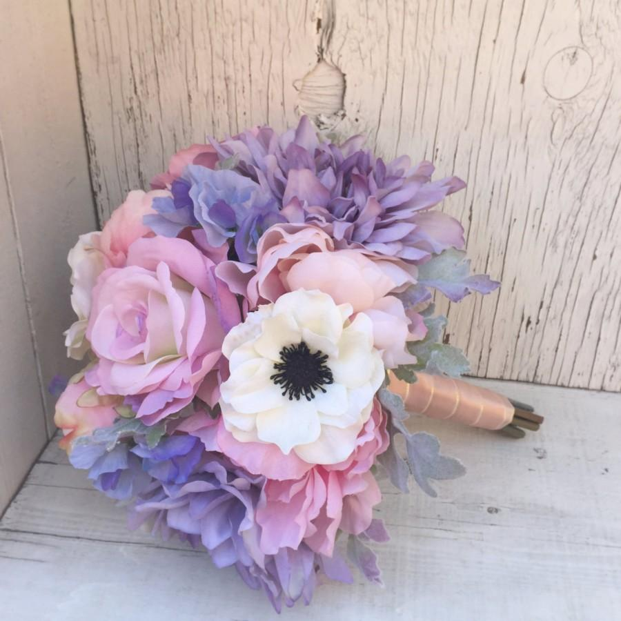 Pastel Silk Wedding Bouquet With Anemones, Peonies, Roses ...