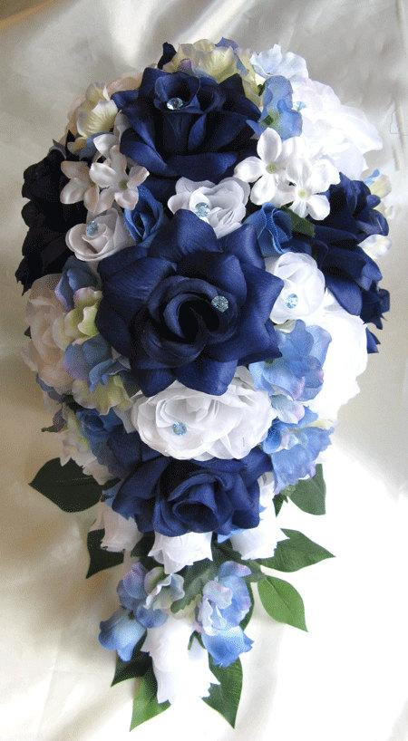 Wedding bouquet bridal silk flower 17 pieces package navy blue white wedding bouquet bridal silk flower 17 pieces package navy blue white periwinkle cascade free shipping boutonnieres roses and dreams mightylinksfo