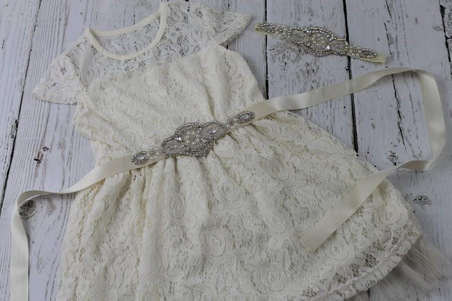 Mariage - Rustic Flower Girl Dress Ivory Flower Girl Dress Rhinestone Sash Headband Ivory Vintage Flower Girl Dress Ivory Jr Bridesmaid Dress