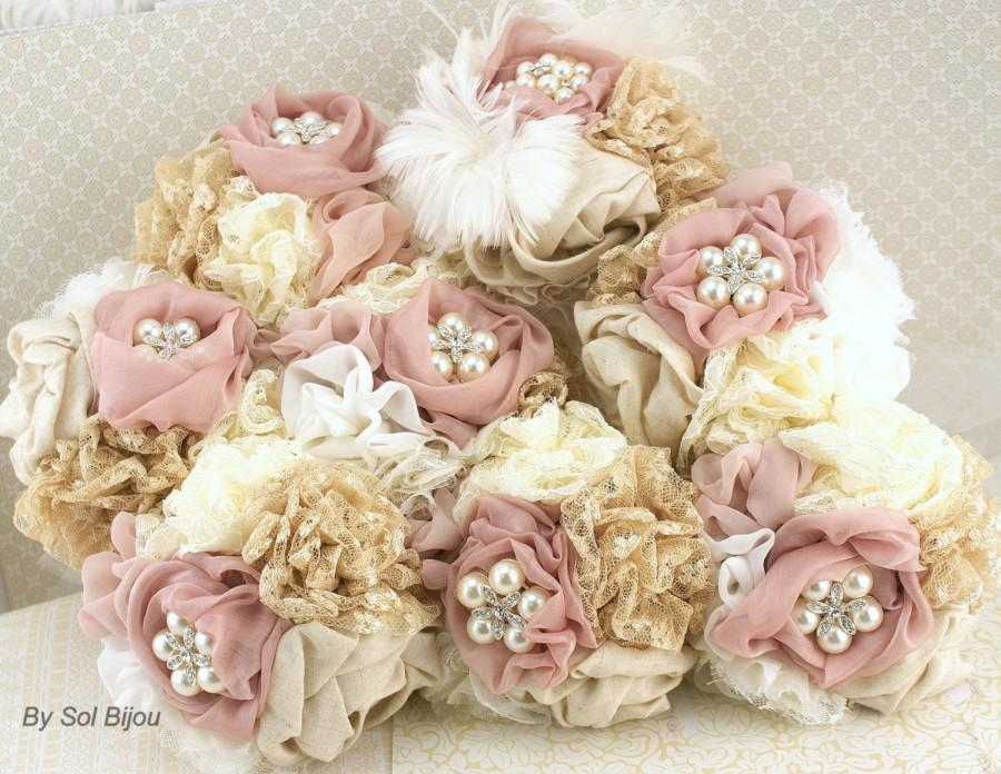 Свадьба - Brooch Bouquets, Blush, Champagne,Tan, Beige, Ivory,Bridesmaids Bouquets, Maid of Honor, Lace, Elegant Wedding, Linen, Pearls, Crystals