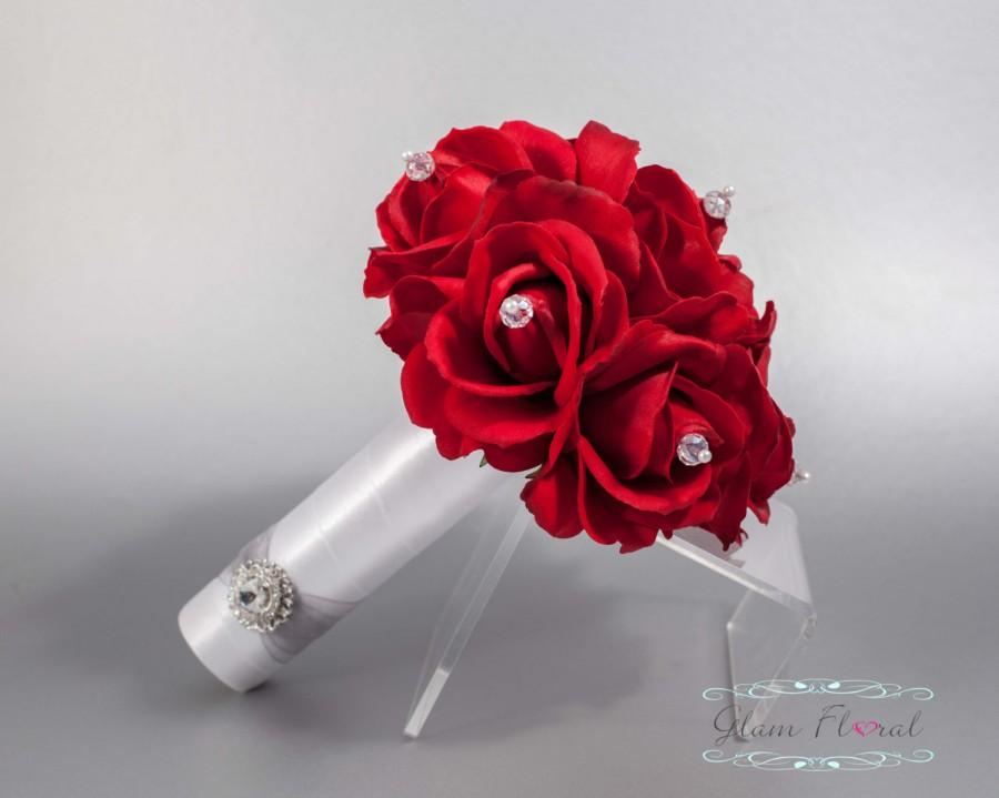 Red Rose Wedding Bridal Bouquet W Czech Ab Crystals Small Bouquet