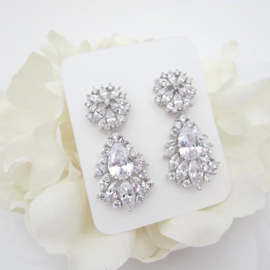 Mariage - Rhinestone Bridal earrings, Wedding earrings, Crystal earrings, Chandelier earrings, CZ earrings, Bridal jewelry, Rose Gold earrings