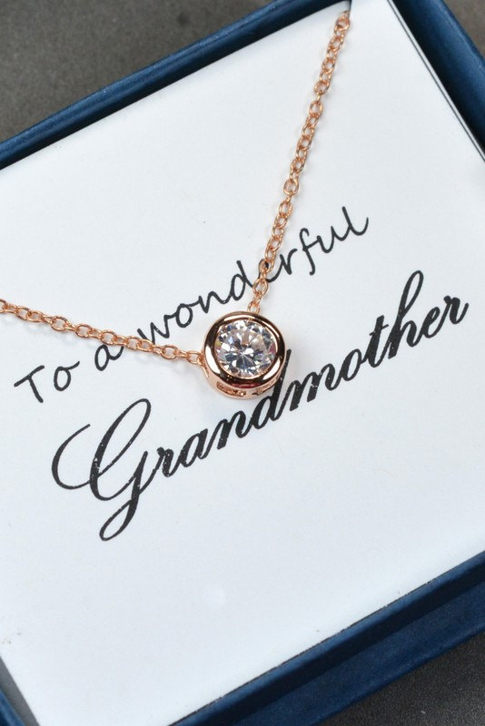 mothers jewelrygrandma necklacegrandmother giftmother in law giftpendantrose goldcz pendant necklacechristmas gift cubic crystal