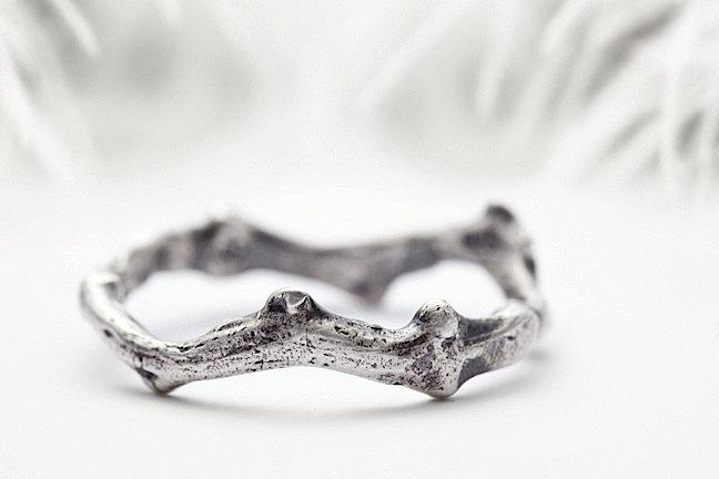 Mariage - mens sterling silver ring, rough coral branch inspired wedding band - Shipwrecked in Heaven