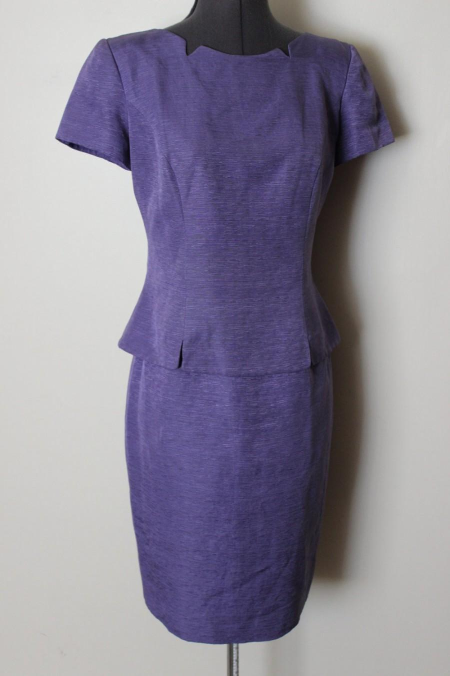Mariage - FREE SHIPPING Vintage Mother of Bride Lavender Purple Silk Dress   Size 6