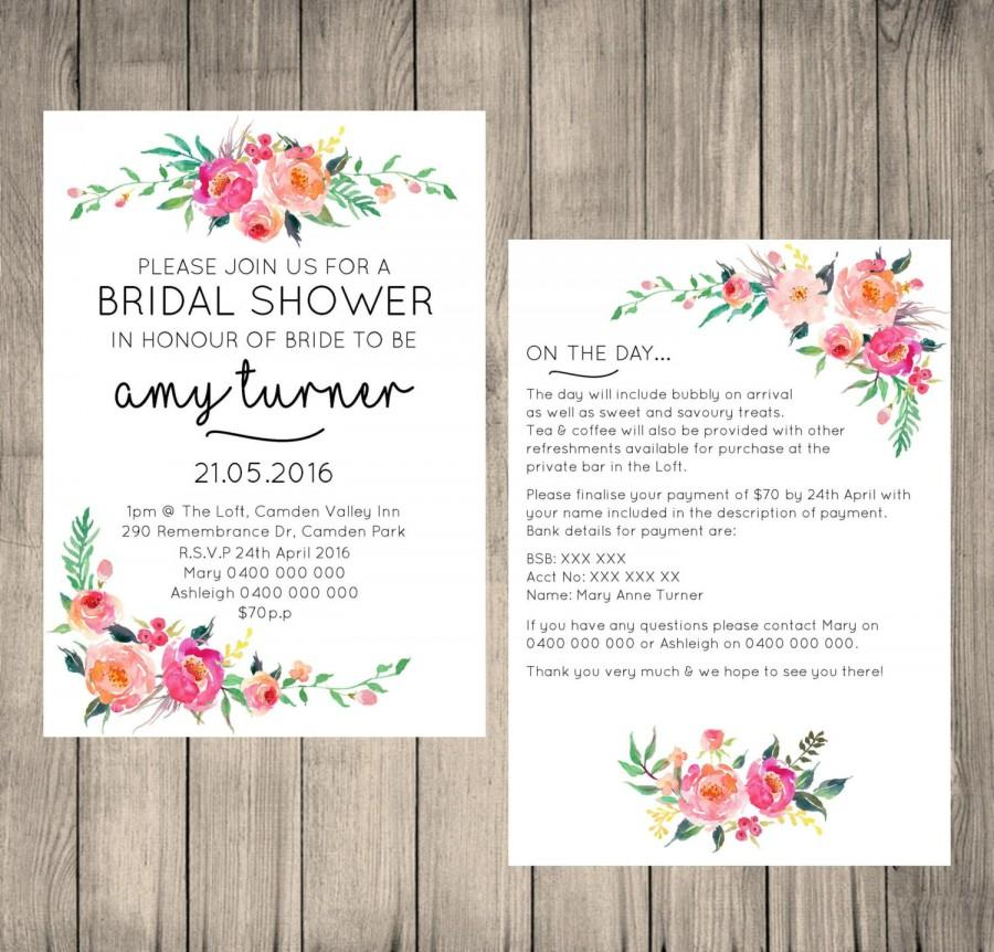Bridal Shower Digital Invitation, Customised, Floral Design, 5x7 ...