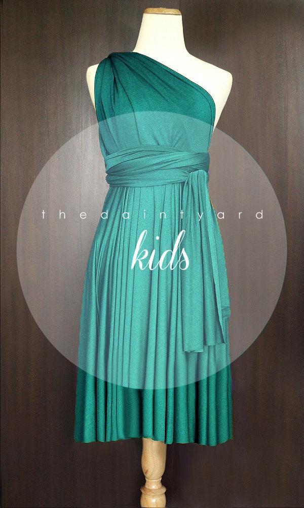 Mariage - KIDS Teal Green Bridesmaid Dress Convertible Dress Infinity Dress Multiway Dress Wrap Dress Green Flower Girl Dress Twist Dress