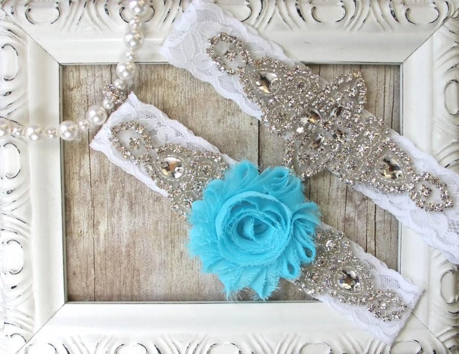 Wedding - CUSTOMIZE YOUR SET - Wedding Garter w/ toss - Aqua Blue Garter, Something Blue, Crystal Garters, Bridal Garter, Rhinestone Garter