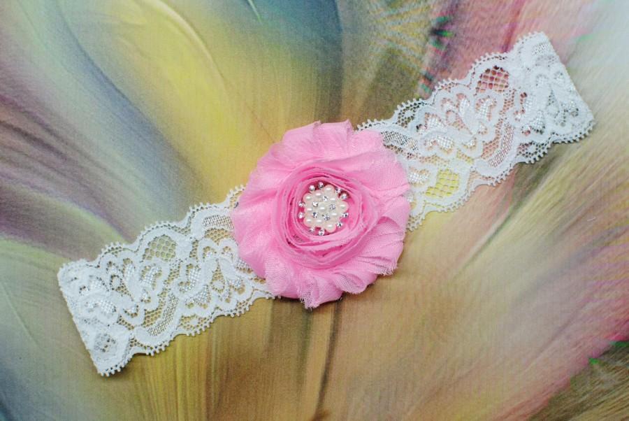 Hochzeit - Bridal Garter Pink Wedding Garter Single Garter Pink Lace Garter Vintage Garter Flower Garter Keepsake Garter Strawberry Pink Garter