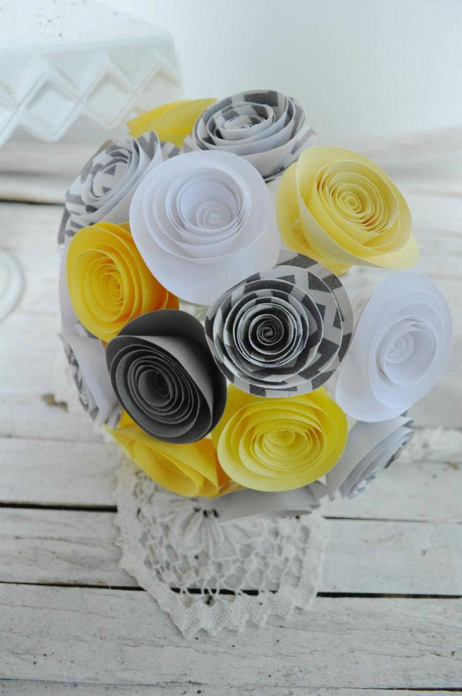 Hochzeit - Bridal Bouquet Gray and Yellow Paper flower Bouquet Bridesmaid bouquet alternative bouquet