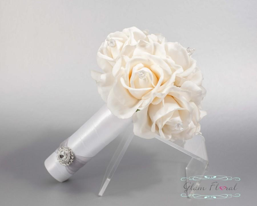 Свадьба - Ivory Rose Wedding Bridal Bouquet w Czech AB Crystals. Small Bouquet. Bride, Bridesmaid, MOH. Real Touch Flowers. Caroline Rose Collection