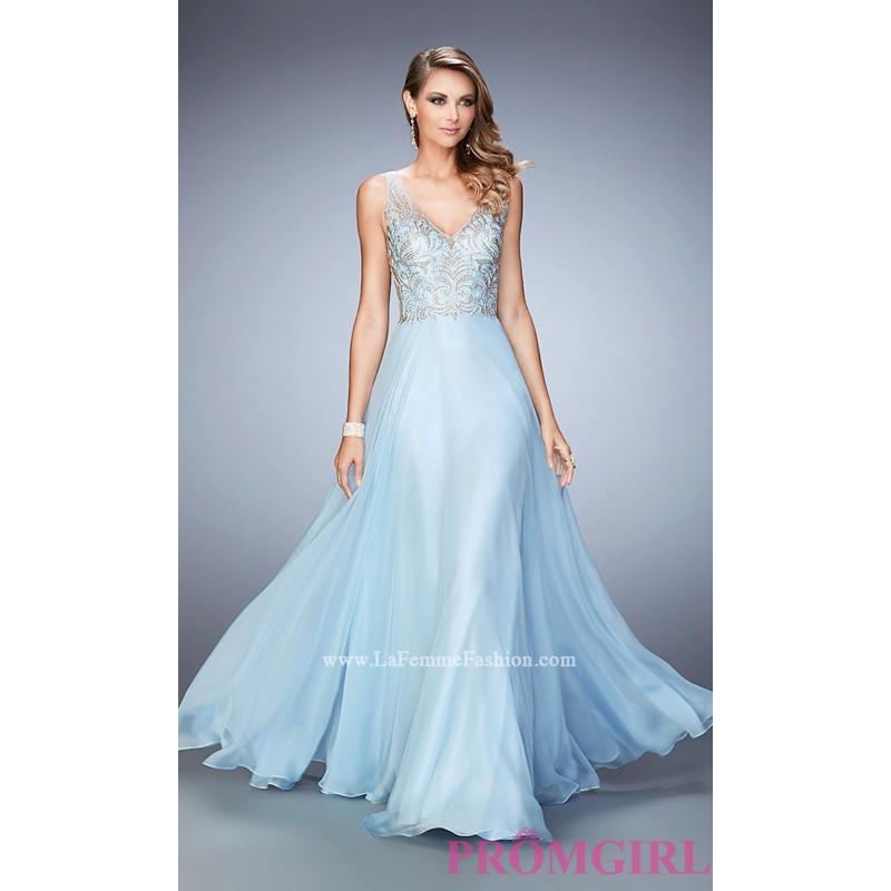 0ed8e0b2547 V-Neck Open Back Long Sleeveless Prom Dress by La Femme - Discount Evening  Dresses