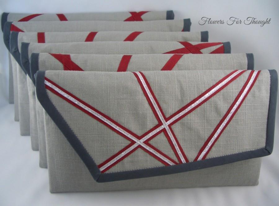 Hochzeit - Bridesmaid Clutches Linen, Modern Wedding Purse, Geometric Abstract Envelope Bag, Set of 6 made to order, FFT original design