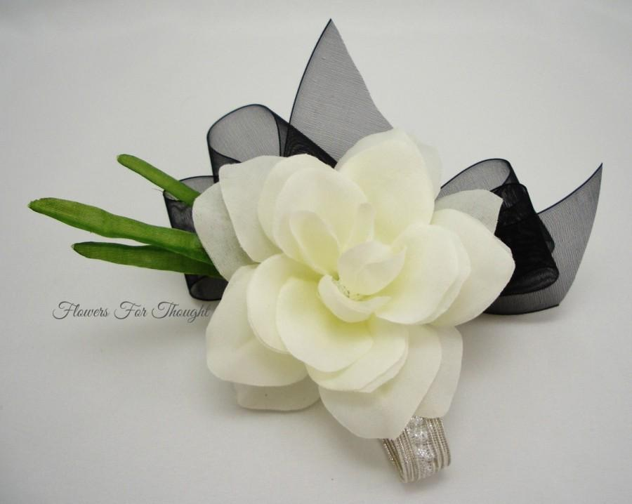 Gardenia corsagecreamy white with black ribbon silk flower prom gardenia corsagecreamy white with black ribbon silk flower prom wedding homecoming anniversary special occasion made to order mightylinksfo
